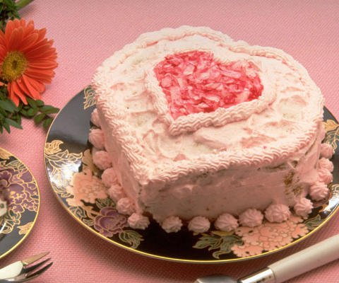 Tarjetas virtuales de amor. Una tarta de corazones