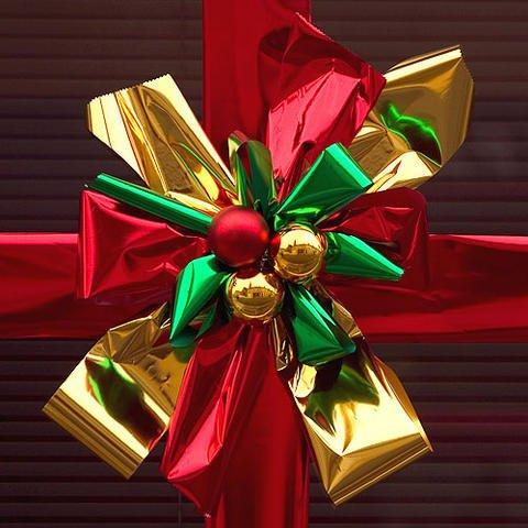 Tarjeta virtual de un gran lazo de Navidad