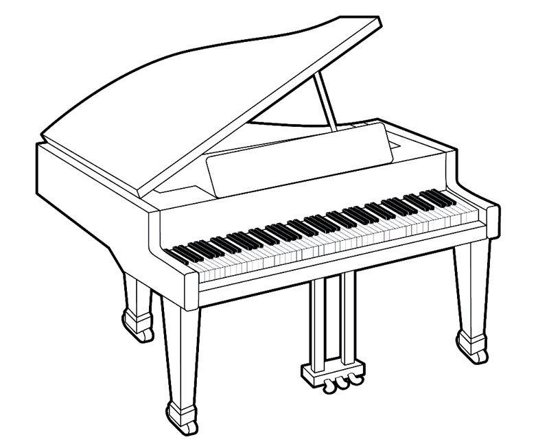 Dibujos de un piano para colorear con los niños