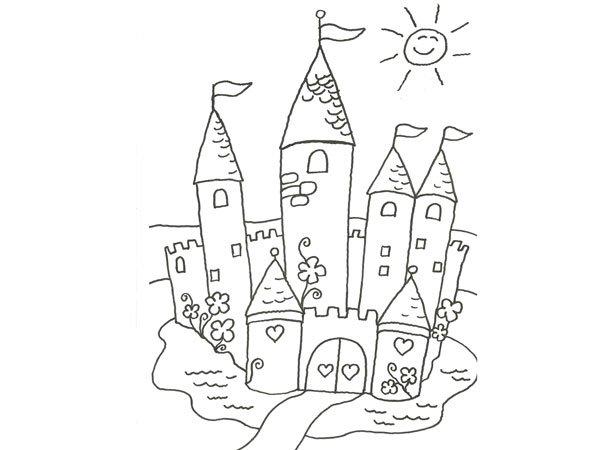 Dibujo para pintar con niños de un castillo