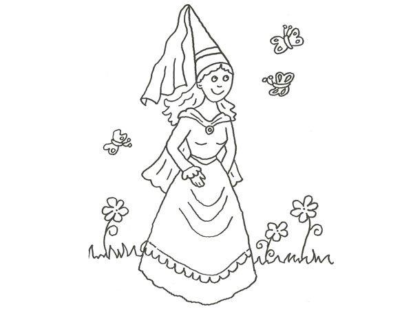 Dibujo de princesa y mariposas para pintar con los niños