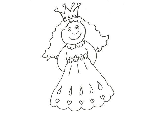 Dibujo Para Pintar Con Niños De Una Pequeña Princesa