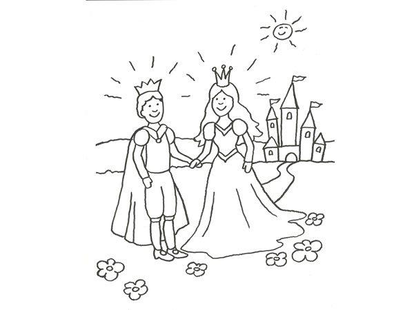 Dibujos De Principes Y Princesas Para Colorear: Imprimir: Dibujo Para Pintar Con Niños De Príncipes Enamorados