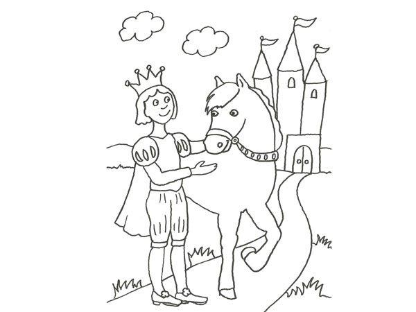 Dibujo de un príncipe y su caballo para pintar con niños