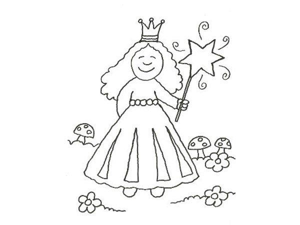 Dibujo para pintar con niños de una princesa con varita