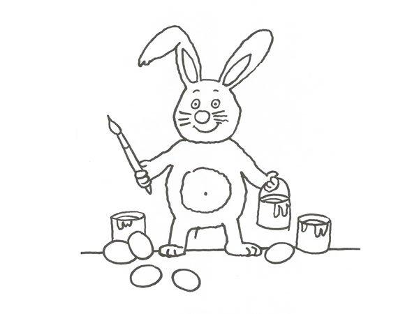 Dibujo de un conejo artista para colorear con niños