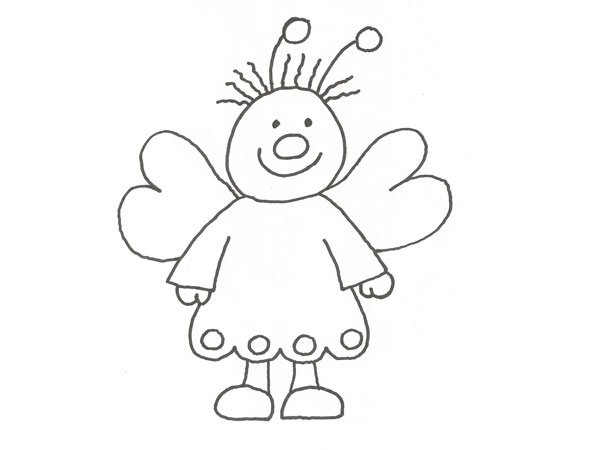 Dibujo de una simpática mariposa para colorear con niños