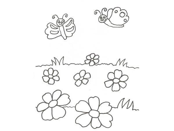 Dibujo de flores y mariposas para pintar con niños