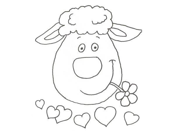 Dibujo de una oveja para colorear con niños