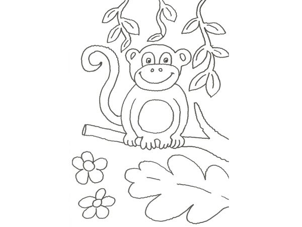de un chimpanc en la selva para pintar con nios