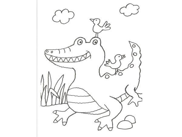 Dibujo para pintar con niños de un cocodrilo en la selva