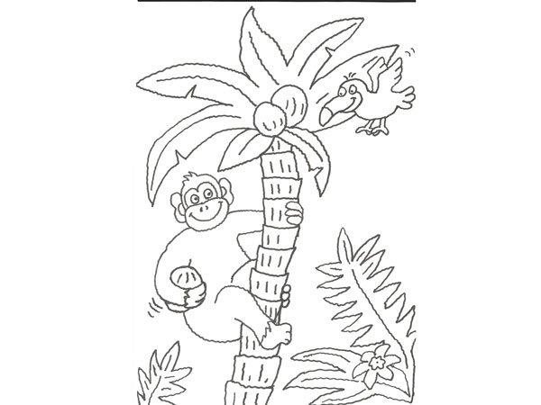 Dibujo Para Pintar Con Niños De Un Gorila Y Un Pájaro