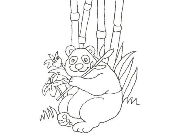 para colorear con nios de un oso panda