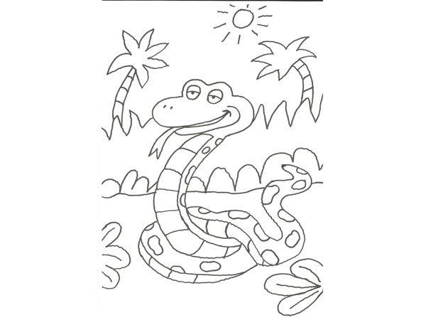 Dibujo para colorear con niños de una serpiente de la selva
