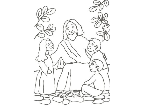 Dibujo infantil de Jesús con los niños para colorear