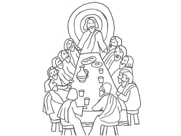 Dibujo De Jesús En La última Cena Para Pintar Con Los Niños