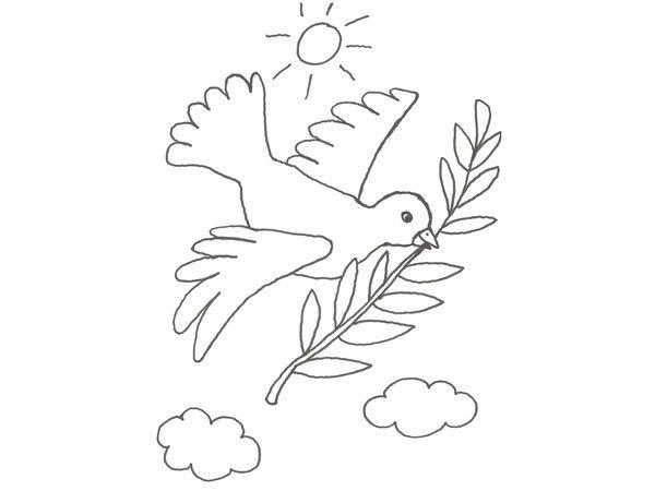 Dibujo De La Paloma De La Paz Para Colorear Con Los Niños