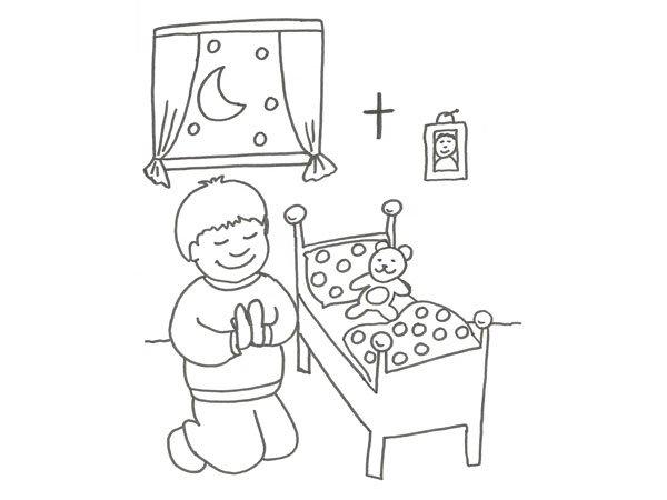 Dibujos De Comunion Para Imprimir Y Colorear: Dibujo Infantil De Un Niño Rezando Para Colorear