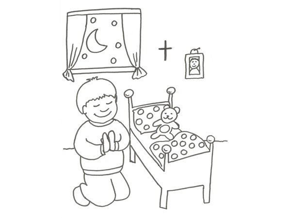 infantil de un niño rezando para colorear
