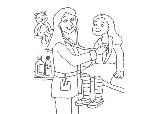 Dibujo para colorear de una doctora curando a una niña