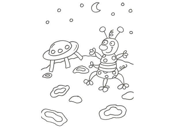 Dibujo de un marciano y su nave espacial para pintar con niños