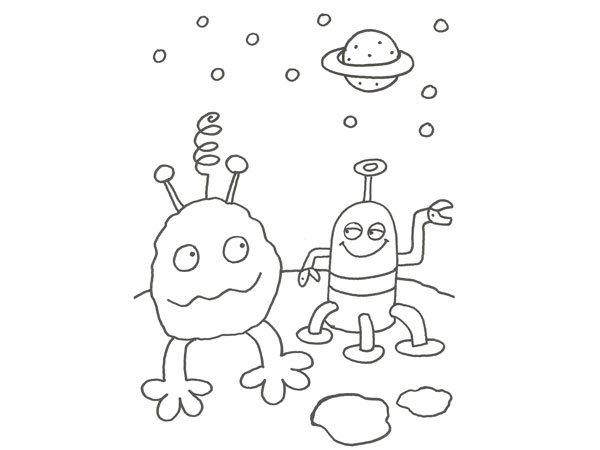 Dibujo para pintar de dos extraterrestres en el espacio