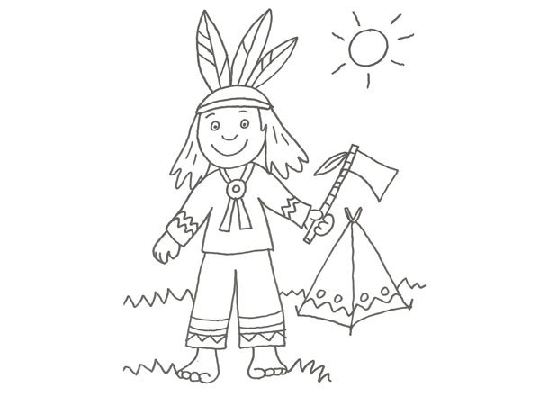 Dibujo De Un Indio Para Imprimir Y Colorear Con Niños