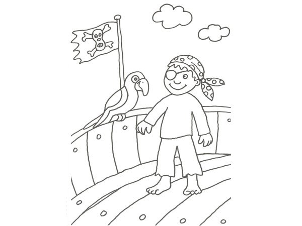 Dibujo para colorear con niños de un pirata y su loro