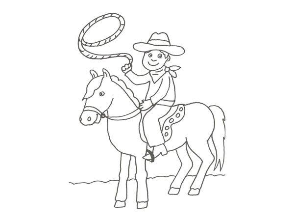Imprimir Dibujo de un vaquero en el rodeo para pintar con los nios