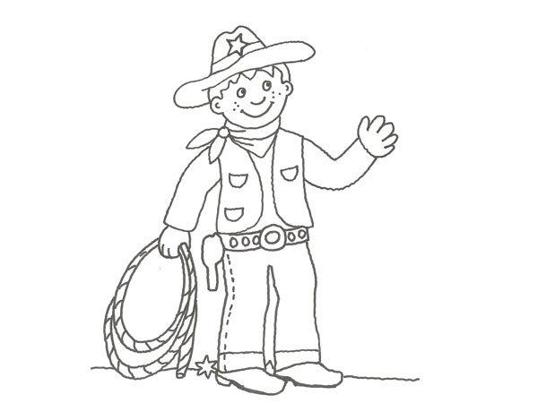 Dibujo De Un Vaquero Del Oeste Para Pintar Con Los Niños