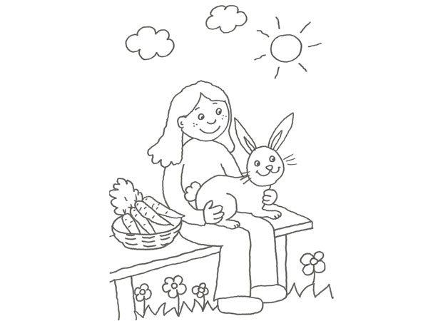 Dibujo Para Pintar Con Niños De Un Granjero Y Un Conejo