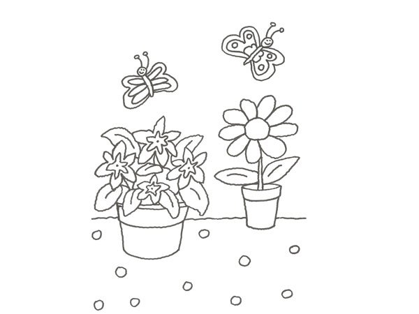 Dibujo de una flor en una maceta para pintar con los niños