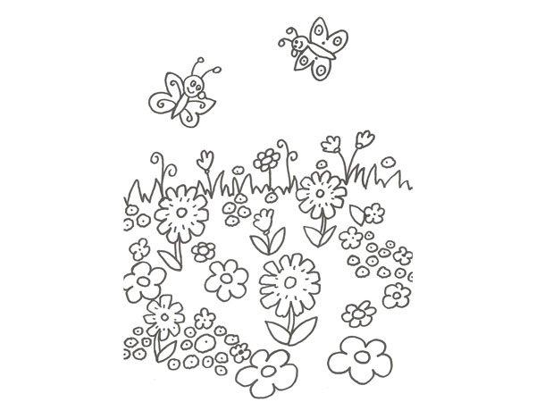 Dibujo De Flores Y Mariposas Para Colorear On Los Niños