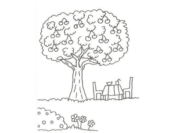 Dibujos Animados Texto Naranja: Dibujo De Un árbol Con Cerezas Para Que Los Niños Pinten