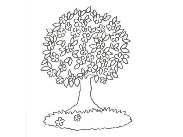 dibujo de un árbol con flores para colorear con niños