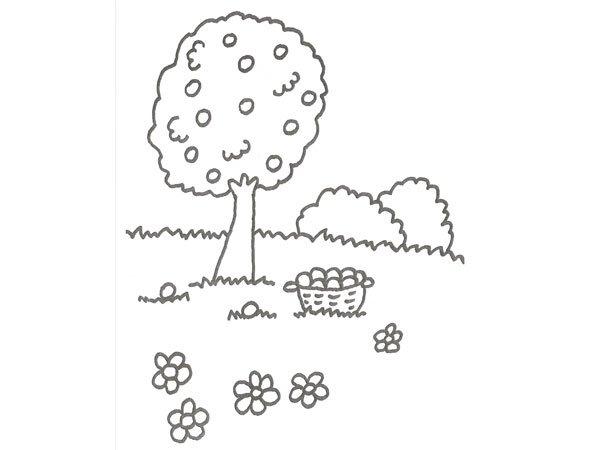 Dibujo de un árbol con naranjas para que los niños pinten
