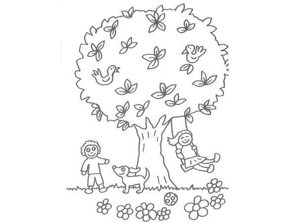 Dibujo de niños jugando con un perro en el campo para colorear
