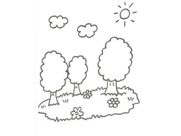 Dibujo de un árbol y flores del campo para que pinten los niños