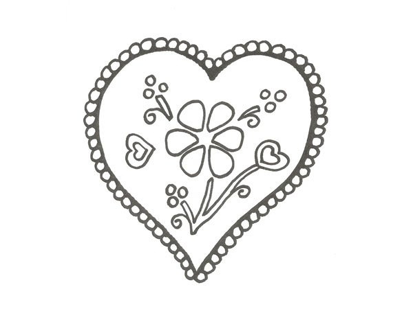 Dibujo de un corazón de San Valentín para colorear