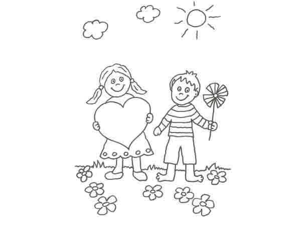 Dibujo De Ninos En San Valentin Para Pintar
