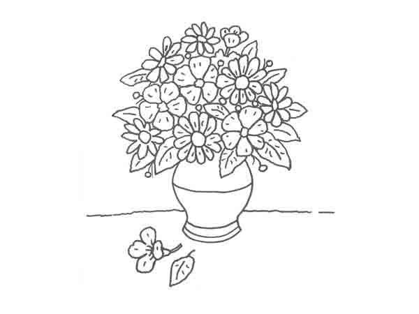 Dibujo de un florero para colorear con niños