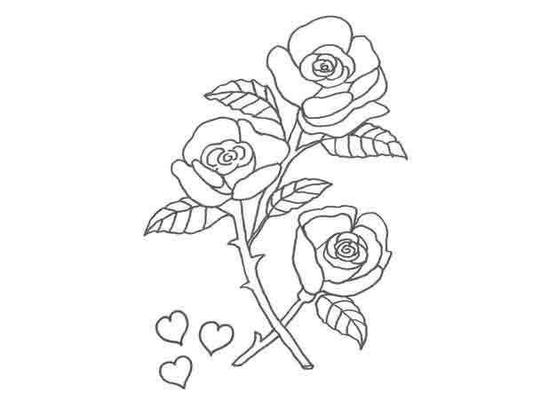 Dibujo de rosas y corazones para pintar con niños