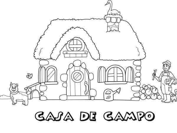 Dibujo de una casa de campo para colorear