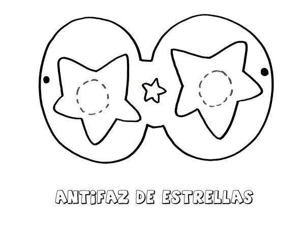 Antifaz de estrellas. Dibujos para colorear con los niños