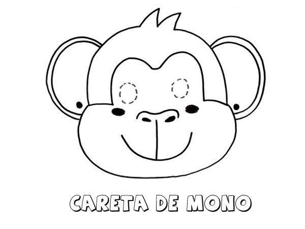 Careta de mono. Dibujos para colorear con los niños