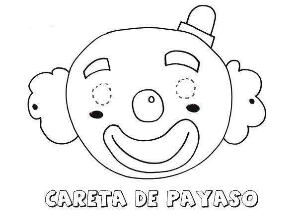 Dibujos Animados De Niños Felices Y Payaso En El Parque: Careta De Payaso. Dibujos Para Colorear Con Los Niños