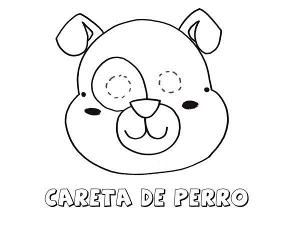 Careta de perro. Dibujos para colorear con los niños