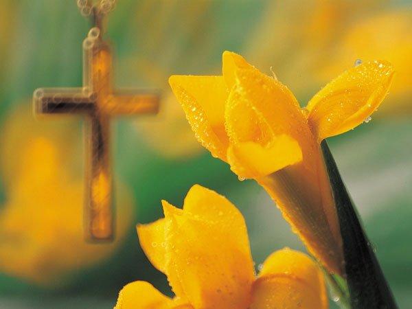 Símbolos cristianos de Semana Santa. Tarjeta virtual para los niños