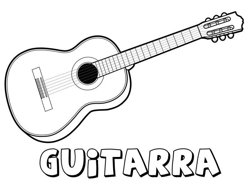 Guitarra para colorear. Dibujos de instrumentos musicales