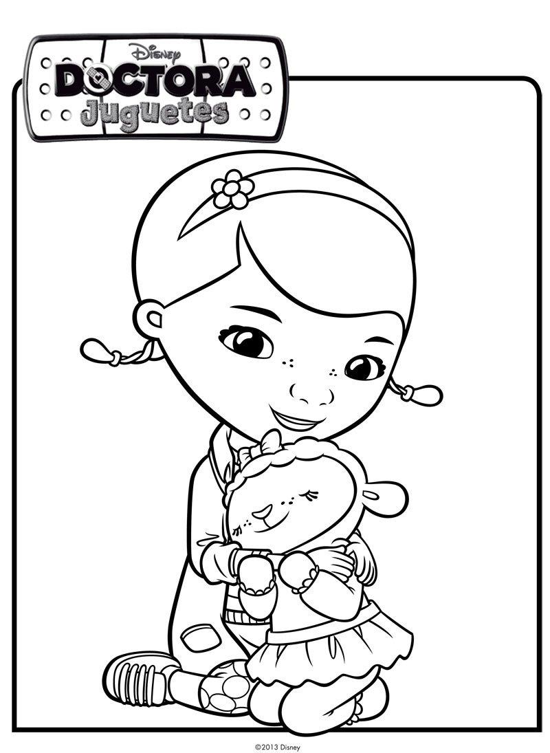 La Doctora Juguetes abraza a la ovejita. Dibujos de Disney